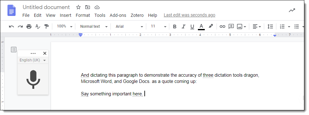 Screenshot of voice typing in Google Docs