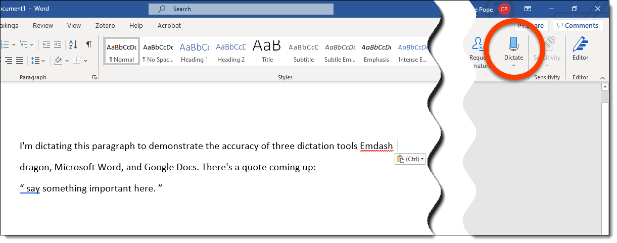 Screenshot of Dictate tool in MS Word